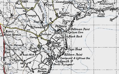 Old map of Ruan Minor in 1946