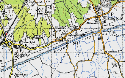 Old map of Ruckinge in 1940