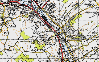 Old map of Rucklers Lane in 1946