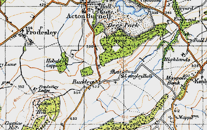 Old map of Langley Chapel in 1947