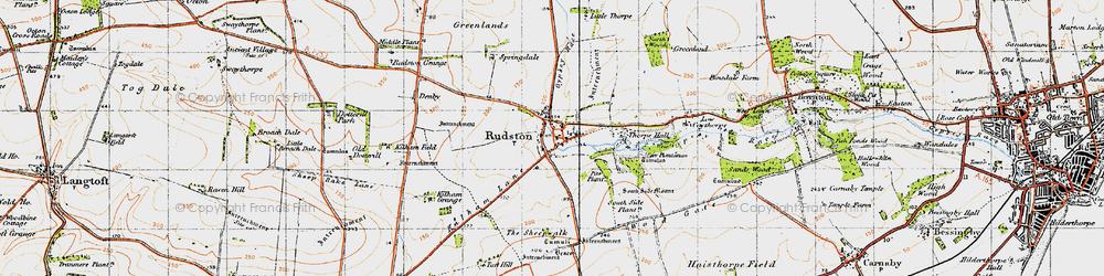 Old map of Rudston in 1947