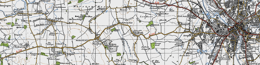 Old map of Rufforth in 1947