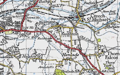 Old map of Ruishton in 1946