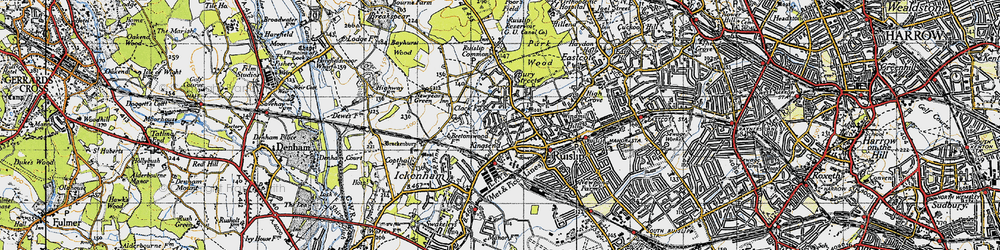 Old map of Ruislip in 1945