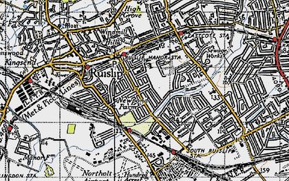 Old map of Ruislip Manor in 1945