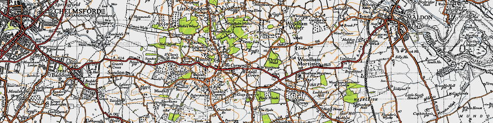 Old map of Woodham Walter Common in 1945