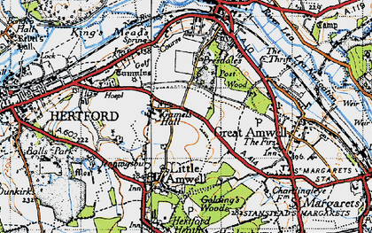 Old map of Rush Green in 1946