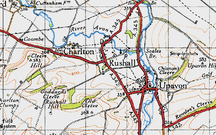 Old map of Rushall in 1940