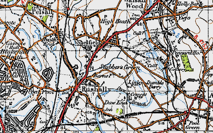 Old map of Rushall in 1946