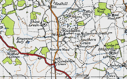 Old map of Rushden in 1946