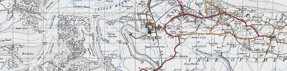 Old map of West Swale in 1946