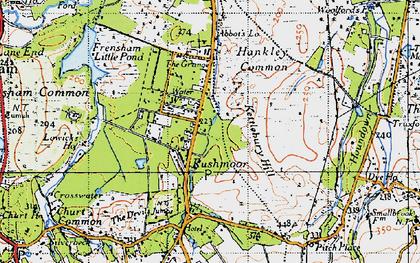 Old map of Rushmoor in 1940