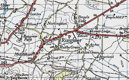 Old map of Rushy Green in 1940