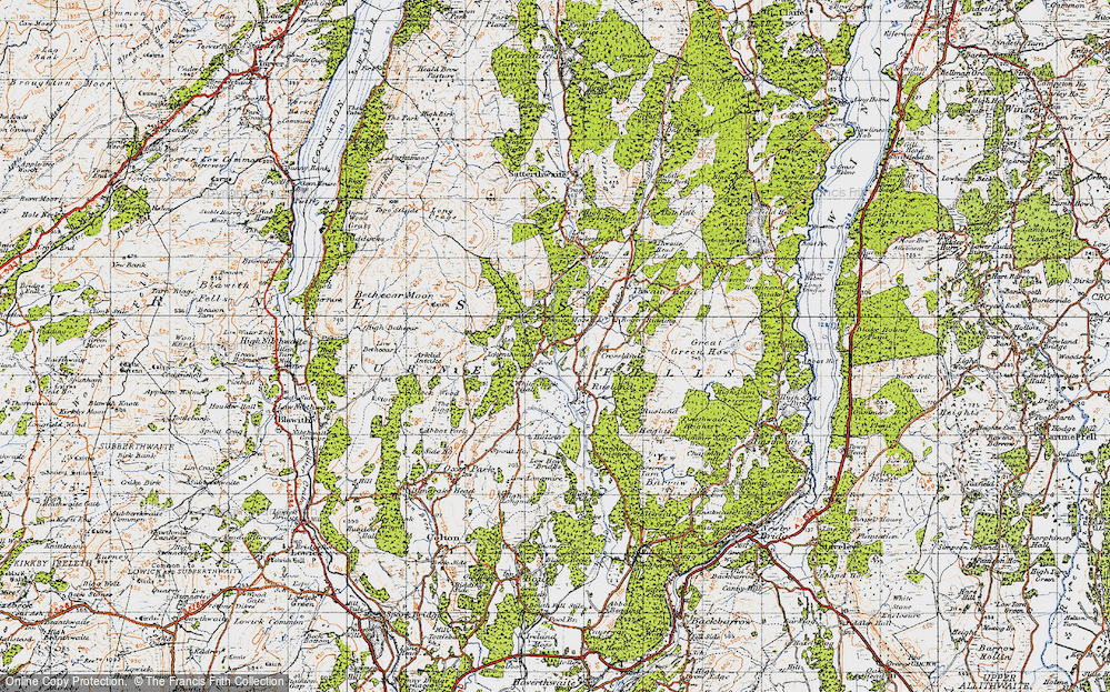 Old Map of Historic Map covering Thwaite Moss in 1947