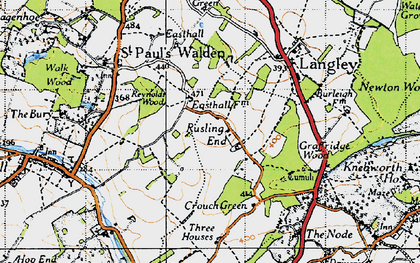 Old map of Rusling End in 1946