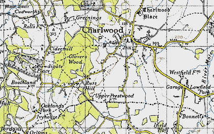Old map of Russ Hill in 1940