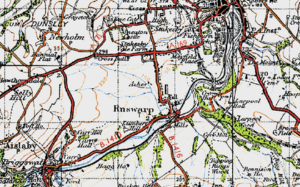 Old map of Ruswarp in 1947