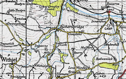 Old map of Ruthernbridge in 1946