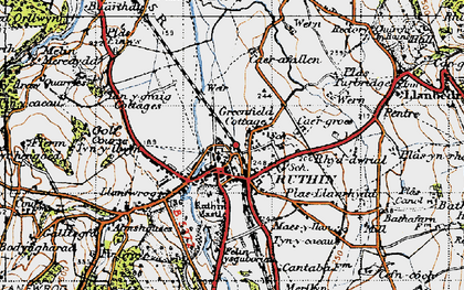 Old map of Ruthin in 1947