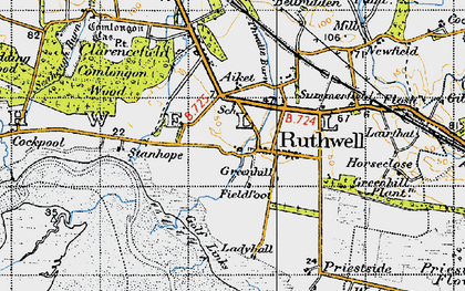 Old map of Ruthwell in 1947