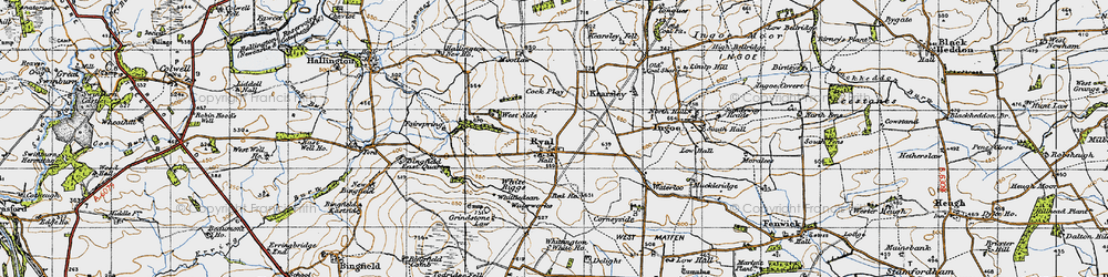 Old map of White Riggs in 1947