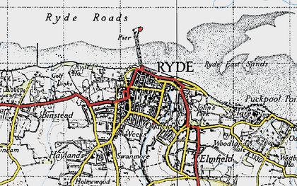 Old map of Ryde in 1945