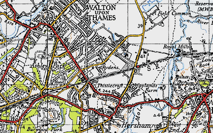 Old map of Rydens in 1945
