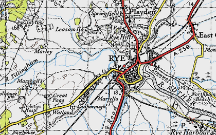 Old map of Ypres Tower in 1940