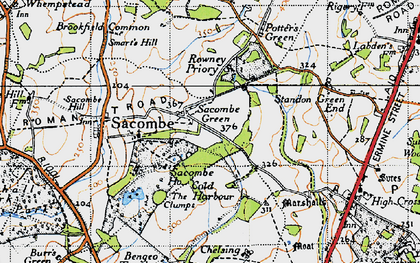 Old map of Sacombe Green in 1946