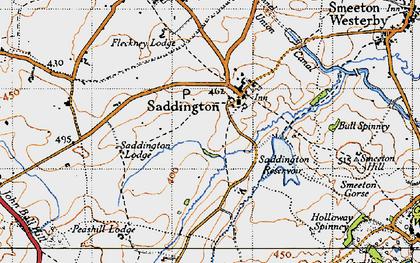 Old map of Saddington in 1946