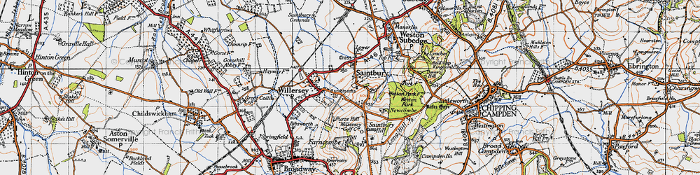 Old map of Willersey Hill in 1946