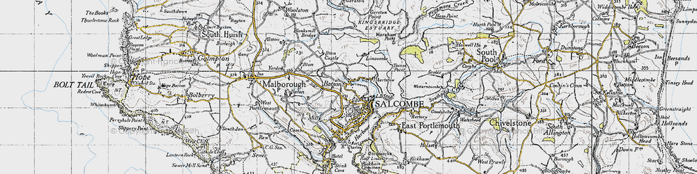 Old map of Salcombe in 1946
