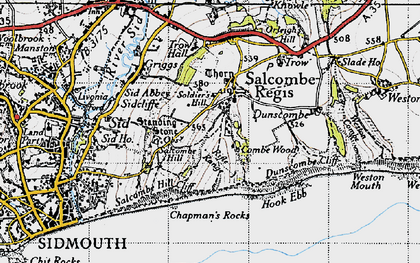 Old map of Salcombe Regis in 1946