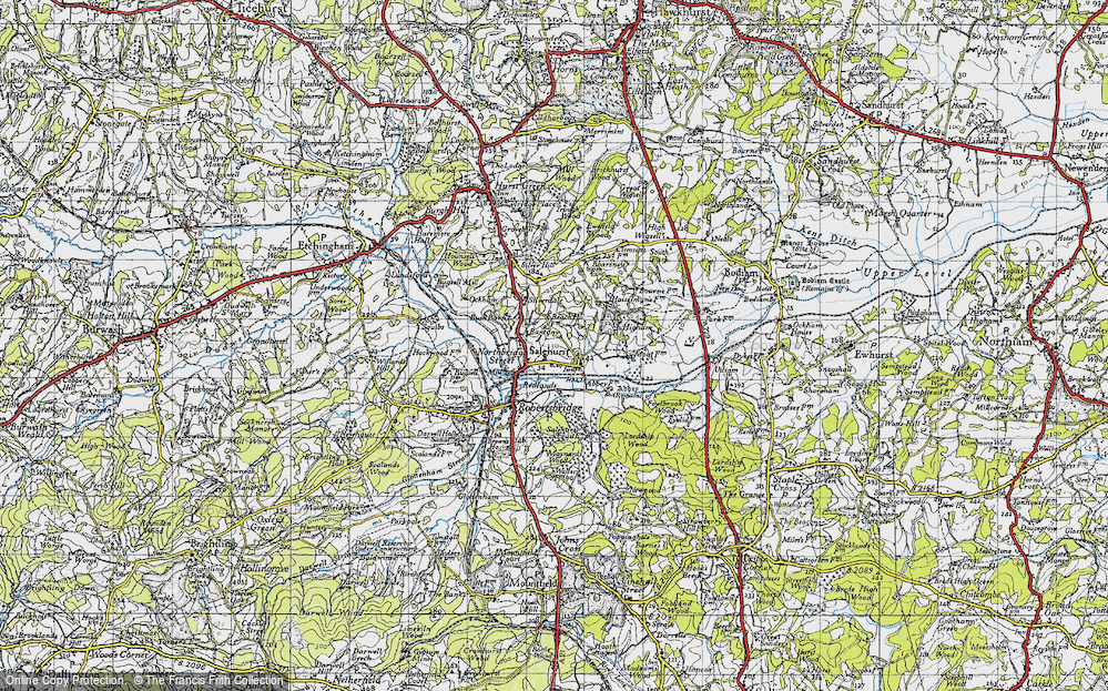 Old Map of Historic Map covering Bantony in 1940