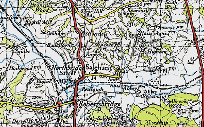 Old map of Bantony in 1940