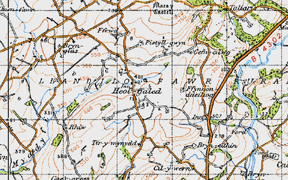 Old map of Afon Myddyfi in 1947