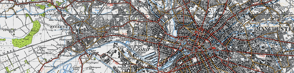 Old map of Salford in 1947
