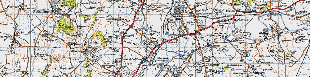 Old map of Salford Priors in 1946