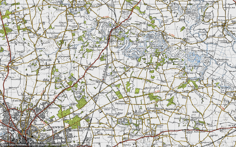 Old Map of Salhouse, 1945 in 1945