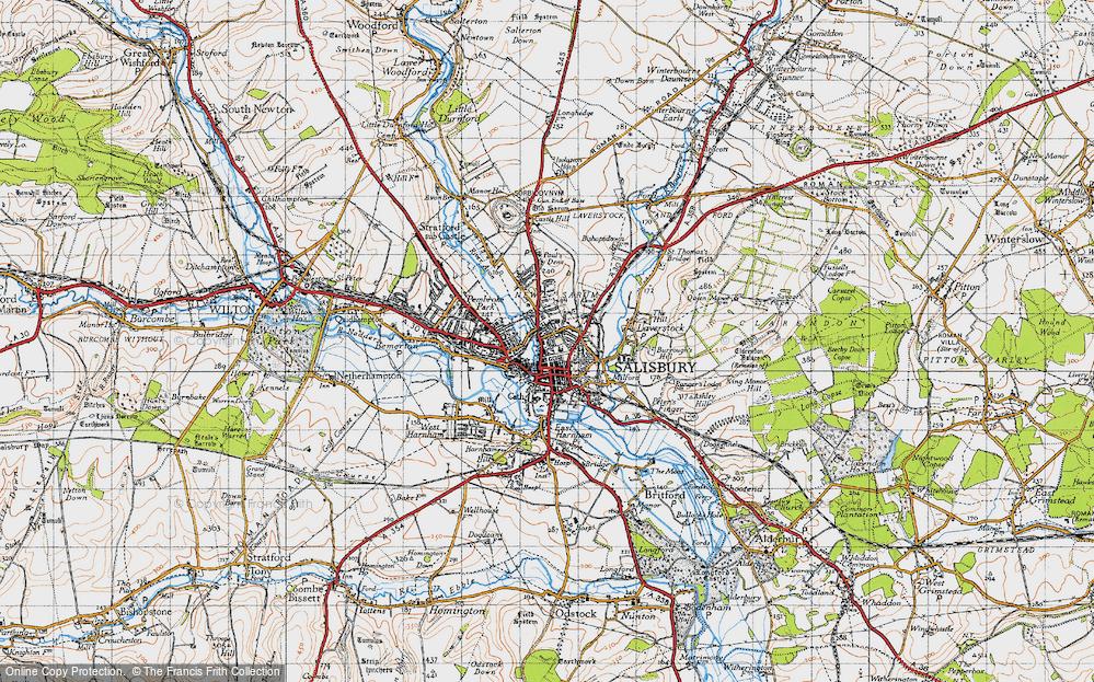 Map Of Salisbury Map of Salisbury, 1940   Francis Frith