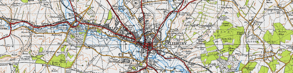 Old map of Salisbury in 1940