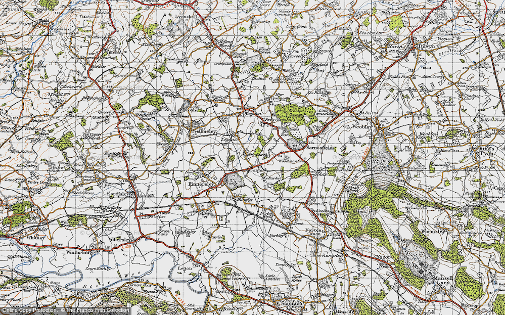 Old Map of Historic Map covering Woodmanton in 1947