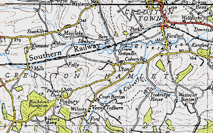 Old map of Yeoton Br in 1946