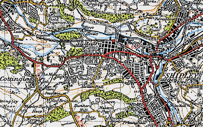 Old map of Saltaire in 1947
