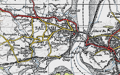 Old map of Saltash in 1946