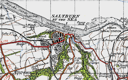 Old map of Saltburn-By-The-Sea in 1947