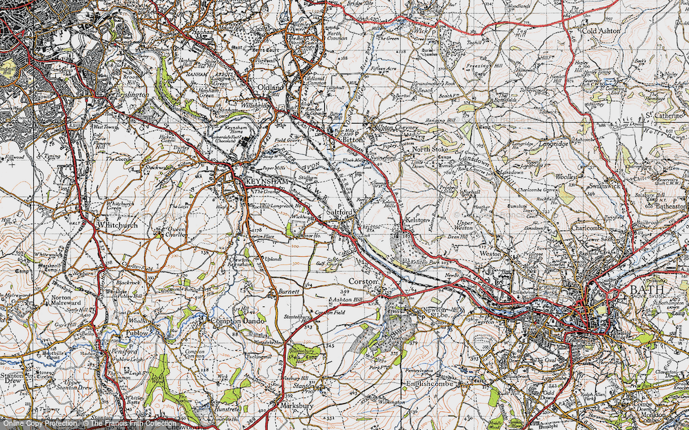 Old Map of Historic Map covering Avon Valley Country Park in 1946