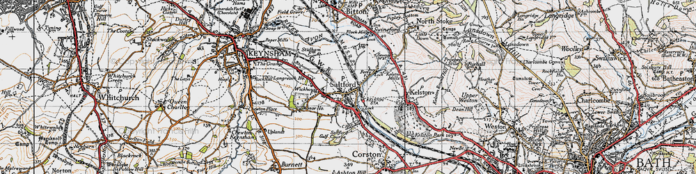 Old map of Saltford in 1946