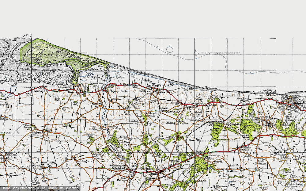 Old Map of Historic Map covering Bard Hill in 1946
