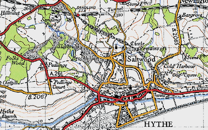 Old map of Saltwood in 1947